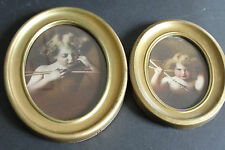 Vintage Oval Frame Print's M.B Parkinson 1897 Cupid Asleep #2071 and Awake #1896