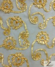 """RIBBON CRYSTAL ORGANZA FABRIC - Golden Yellow - 50""""/52"""" WIDTH SOLD BY THE YARD"""