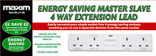 New Energy Saving Master Slave 4 Way Extension Lead with 1Metre Cable 4 way lead