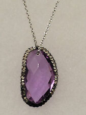 New in Box Gorgeous Lavender Agate & Crystal Pendant Necklace