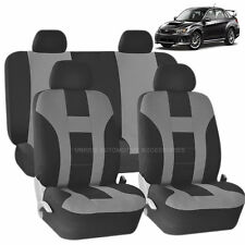 GRAY & BLACK DOUBLE STITCH SEAT COVERS 8PC SET for SUBARU IMPREZA