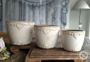 Übertopf Blumentopf Pflanzentopf 'Marcy' Keramik Vintage Landhaus Chic Antique