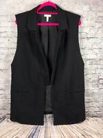 LEITH ponte long  raw trim vest black open front duster women's m