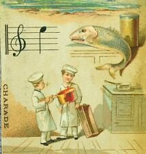 1870's-80's Bakers Fish Charade Aux Armes D'Angleterre Nice, France Card F85
