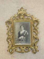 Antique Victorian Ornate Rectangular Gilt Gold Metal Easel Back Frame
