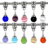10 Charm European Katzenauge Dangle Perlen Beads Anhänger für Halskette 28x8mm/!