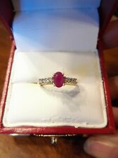 Estate 14K Yellow And White Gold Natural Oval Red Ruby And Diamond Ring (955)