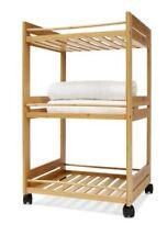 3 Tier Bathroom Bamboo Trolley Linen Rack Storage Portable Wheels Towels Home AU