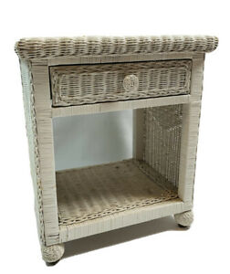 Vintage MCM Shabby Chic Wicker Rattan Bed Side Accent Table Plant Stand White