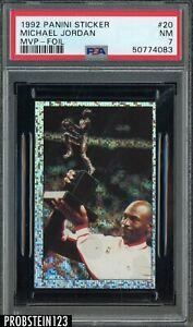 1992-93 Panini Sticker Foil #20 Michael Jordan Chicago Bulls HOF MVP PSA 7 NM