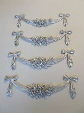 FOUR FLOWERS AND BOWS DECORATIVE MOULDINGS SILVER RESIN FURNITURE PROJECTS