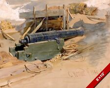 THE DERELICT CANNON WAR WEAPON WATERCOLOR PAINTING ART REAL CANVAS GICLEEPRINT