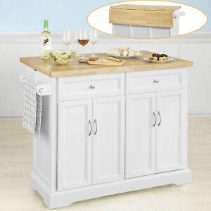 SoBuy Kücheninsel Küchenwagen(erweiterbare Arbeitsplatte) Küchenschrank FKW71-WN