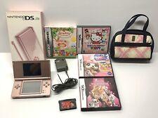 Nintendo DS Lite Metalic Rose Handheld Game System w/ Case, Games, Original Box