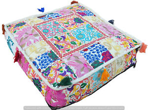 """100% Cotton Indian Ottoman Square Patchwork Pouf Floor Cushion Cushion Cover 16"""""""