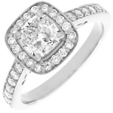 GIA Certified Diamond Cushion Cut Engagement Ring 1.90 CTW 18k Gold