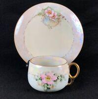 Antique Victorian Bone China Delicate Blue Teacup Saucer Tea Roses Artist Signed