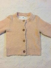 HWA ANTHROPOLOGIE Pale Pink Cardigan SWEATER Small Wood Buttons Wool Blend 3/4