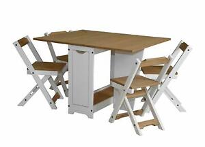 Ellingham Drop Leaf Butterfly Dining Set with 4 Chairs in Pine/white