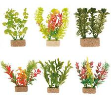 6 x Trixie Plastic Aquarium Plants Fish Tank Decorations with Sand Base - 12 cm