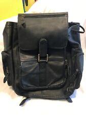 Hand Made Black Colombian Leather BackPack Satchel Bag Drawstring Multi pocket