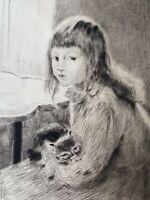Gaston LA TOUCHE gravure eau forte etching la petite fille au chat cat girl