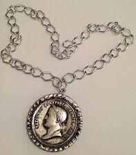 collier vintage métal très léger grosse chaine et pièce imitation gravé 4021