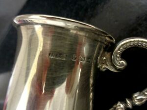 Antique Victorian D.L.S. Sterling Silver Christening Cup Mug 1880s England