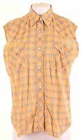 REPLAY Womens Shirt Sleeveless Size 18 XL Yellow Check  NS43
