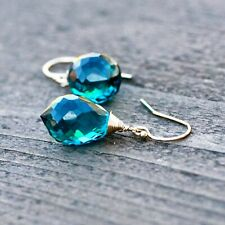 Paraiba Teal Tourmaline Wire Wrapped Earrings 14k Gold Filled , Hooks , October
