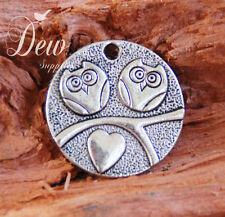 10 x Round Owl Love Pendant Charm 25mm silver antique