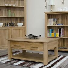 Arden Solid Oak Furniture Storage Coffee Table With Drawers