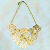 Gold Tone Rose Link Bib Necklace