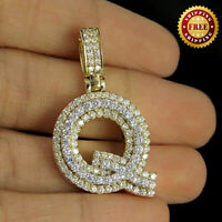 3D Letter Q Initial Pendant Charm Real 10K Yellow Gold 1.20 Ct Round Diamond