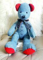 PIER 1 ONE IMPORTS BLUE RED CORDUROY DENIM TEDDY BEAR STUFFED ANIMAL PLUSH DECOR