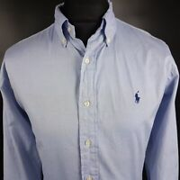 Ralph Lauren Mens Shirt 16-35 LARGE Long Sleeve Blue Classic Fit Cotton