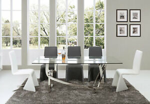 Modern Dining Room Furniture - 7pcs Rectangular Glass Top Table & Chairs Set CV9