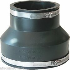 "Flexible Fernco Rubber 6"" x 4"" PVC Plastic Sewer Pipe Connector Coupling"