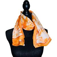 Vintage Vera Neumann Orange and White Silk Scarf