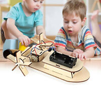 Wooden DIY Electric Assembled Ship Toy Physical Science Experiments Tool For Kid