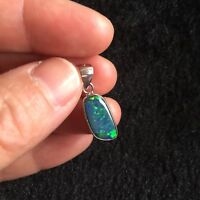 Aussie Doublet OPAL pendant S925 coated W/Rhodium 6.99cts Sparking colors #111