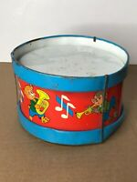 "Ohio Art Tin Litho Toy Drum Colorful Animal Band Red Blue 6 1/4"" x 3 7/8"" NR"