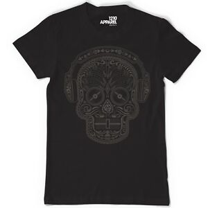 Technics / DMC T-Shirt - Skull N Phones Black/Black (Size S-XXL) A19B New+Boxed