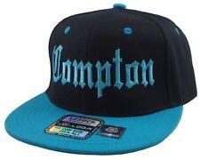 NEW VINTAGE COMPTON FLAT BILL SNAPBACK BASEBALL CAP HAT BLACK/AQUA
