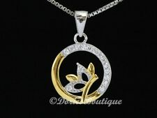 Sparkling Golden Clear Circle CZ 925 Sterling Silver Pendant .925 Fine Jewelry