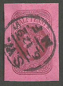 Q.VICTORIA 1/2D BROWN OFFICIAL ADMIRALTY CUT OUT DEEP PINK PAPER LO70E CLACTON
