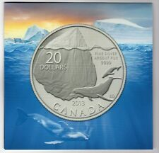 2013 Canada - $ 20 Coin - Whale - 99.99% Fine Silver in Folder Uncirculated