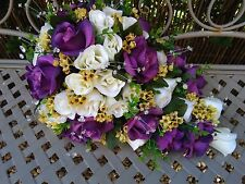 TEARDROP WEDDING BRIDAL BOUQUET PURPLE IVORY & YELLOW WITH CRYSTAL'S
