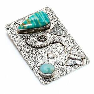 "Amazonite, Larimar Gemstone 925 Sterling Silver Jewelry Pendant 2.17"" Q034"