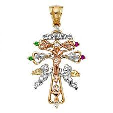 14K Tri Color Gold CZ Religious Cross of Caravaca Charm Pendant GJPT938